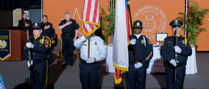 UTMB and UT Police at Houston Honor Guards present the colors.