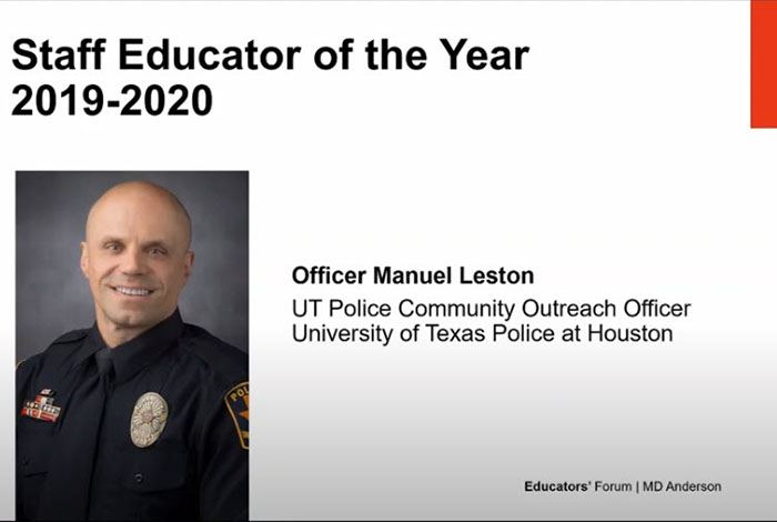 UT Police Community Outreach Officer Manuel Leston is awarded Staff Educator of the Year