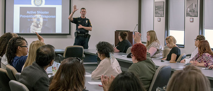 Sergeant Wisneski instructing Active Shooter class for UTHealth employees